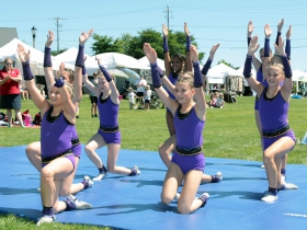 The West Bend Dance Tumbling Troupe performance at the MOWA Art & Chalk Fest