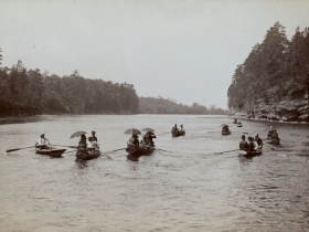 Fleet of Rowboats on a Sunday Afternoon—Dells Guides, ca. 1870s