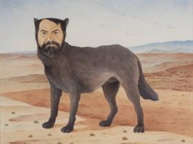 Francisco X. Mora, Veces me siento como un perro y callejero para acabarla de fregar! (Sometimes I feel like a dog and street to finish scrubbing), 1993-96. Watercolor.