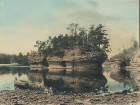 Lone Rock with Canoe, ca. 1900
