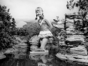 Minirama, Lower Dells Area with Child, Lisa Reese,  in Water, ca. 1959