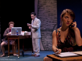 Ruthless banker Bennett (David Cecsarini, C) and his two allies Randy (Michael Cotey, L) and Lydia (Alexandra Bonesho)