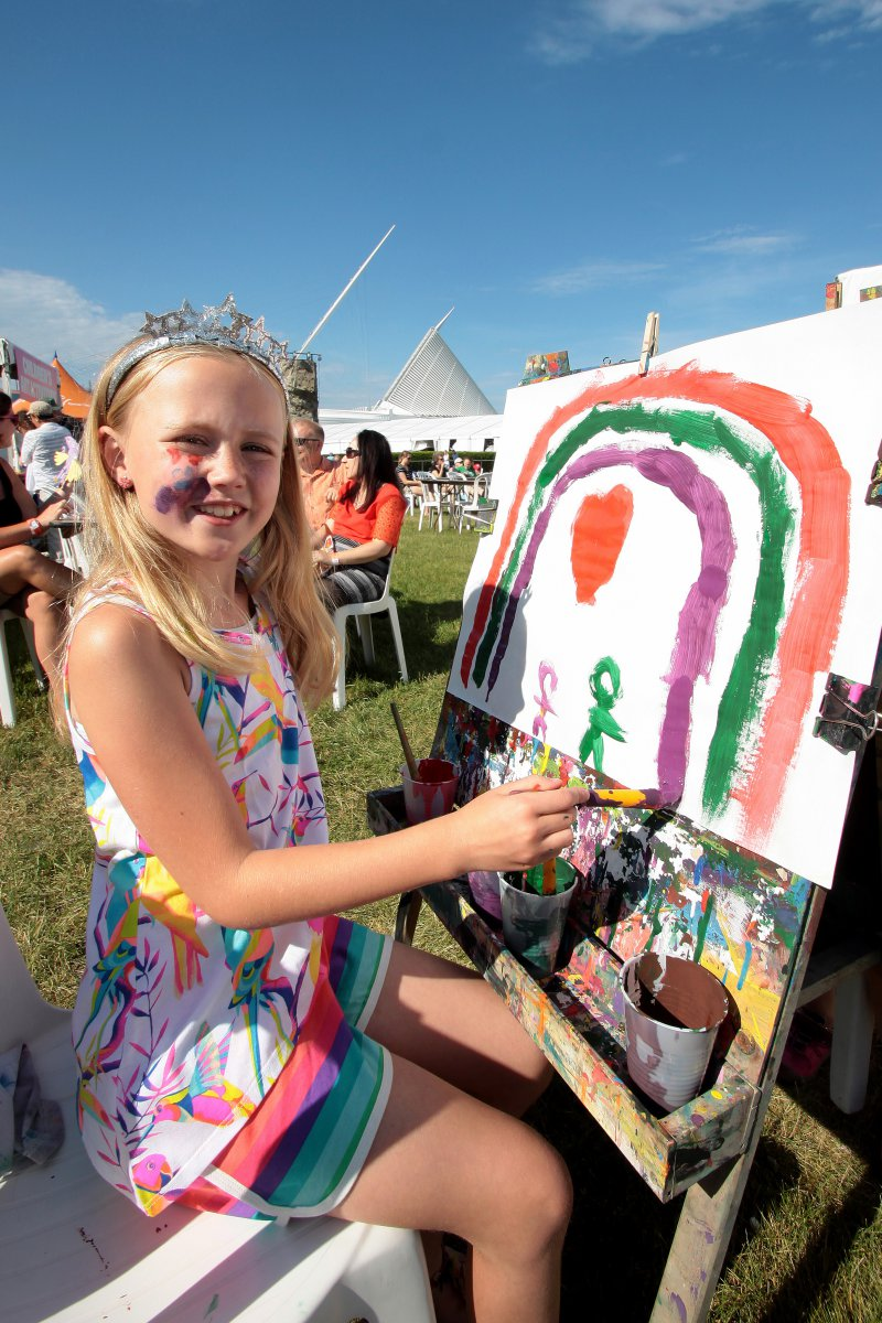 Sophie Evans, from Milwaukee painting at The PNC Children\'s Experience