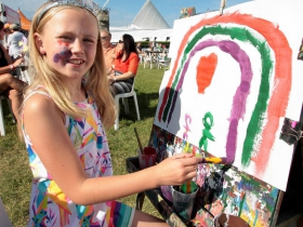 Sophie Evans, from Milwaukee painting at The PNC Children's Experience