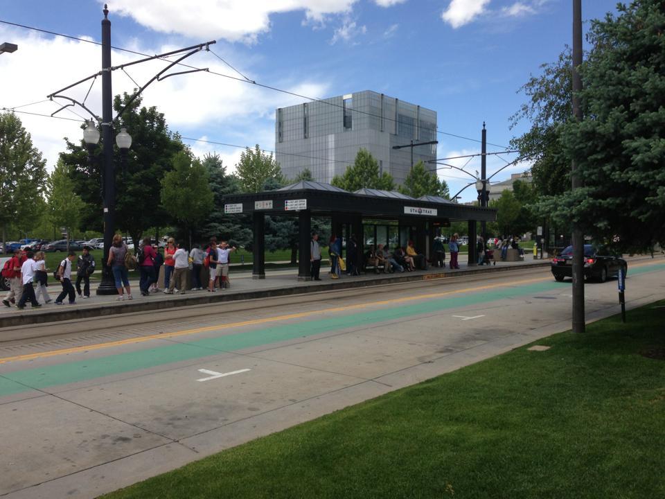 Light-rail stop in Salt Lake City.
