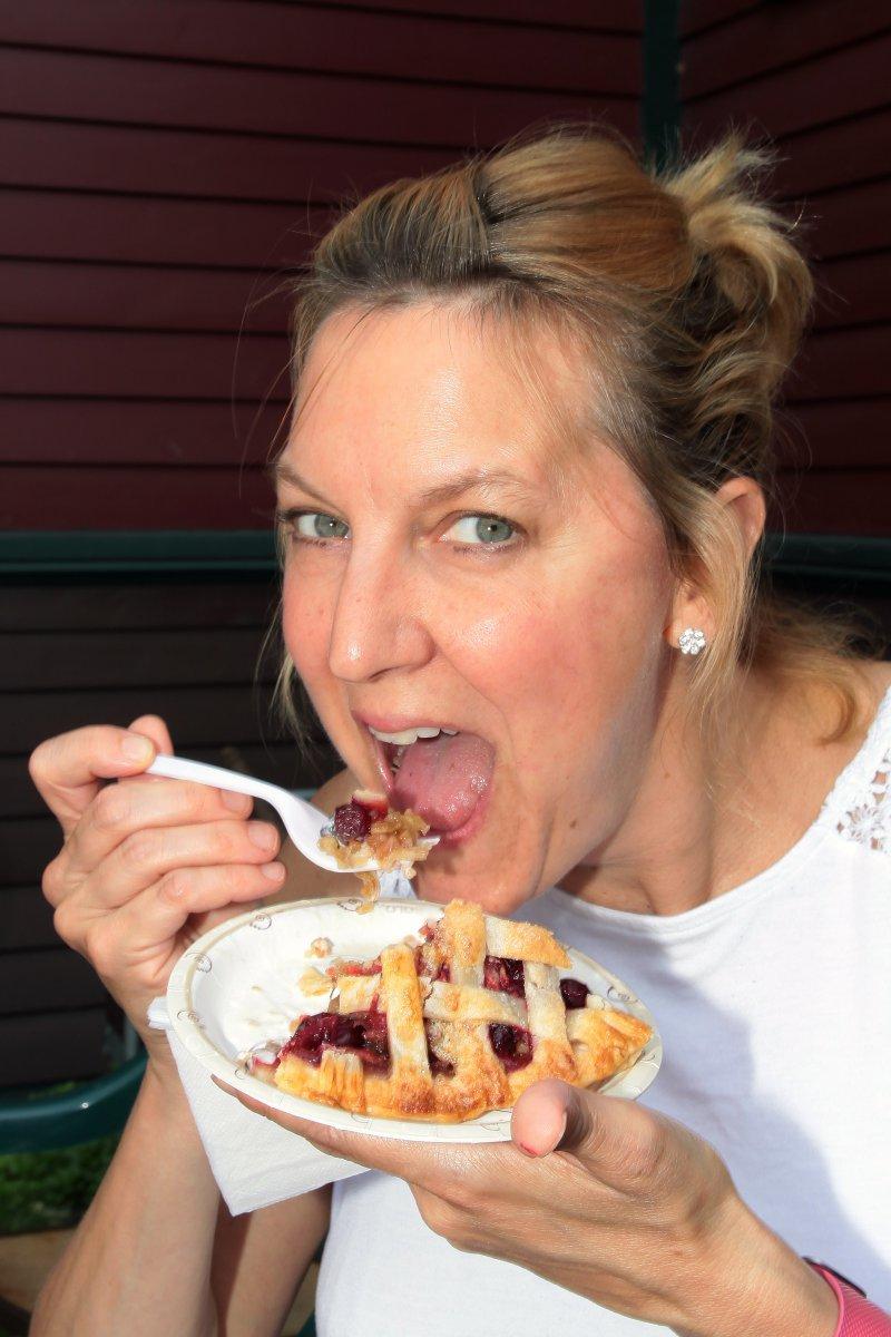 Julie Nicholds, from Wauwatosa enjoyed eating tasty homemade pie
