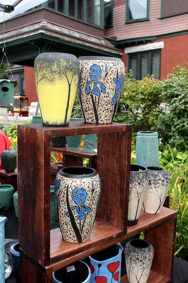 Hand carved stoneware and pottery by Thomas Skupniewitz, from Lake Mills, WI