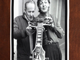 Paul McCartney quote about Les Paul on a poster courtesy of The Les Paul Foundation