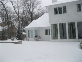Lakefront Home in Snow