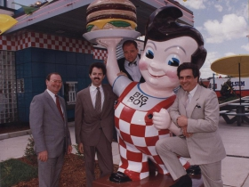 Marc's Big Boy statue at the opening of a Big Boy Express in June 1993. (L-R) Steve Schilling; Doug Neis; Peter Helf; Bruce Olson.