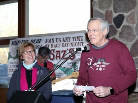 Gael Cullen, looks on as Dr. David Gutterman, Cardiovascular Medicine, Medical College of Wisconsin thanks the crowd for their support of heart research made possible by the 23rd Annual Steve Cullen Healthy Heart Run/Walk