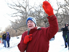 Mayor Tom Barrett greets and thanks the crowd for participating at the Steve Cullen Healthy Heart Run/Walk.The temperature at race time was 6 degrees