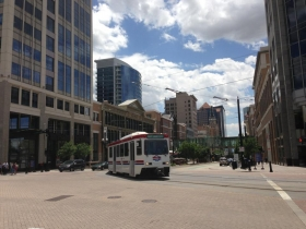 The TRAX in downtown Salt Lake City.