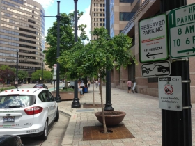 Reserved on-street parking for car-sharing.