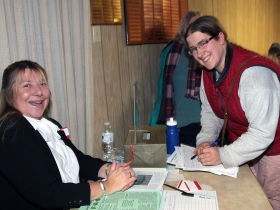 County Grounds Coalition member Barb Schoenherr and Katy Gross