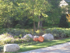 Pumpkins in front of Michael White's River Hills home.