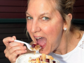 Julie Nicholds, from Wauwatosa enjoyed eating tasty homemade pie