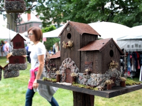 Stone birdhouses, garden stakes and feeders were featured by artist Sue Knox, from Cedarburg Fox Farm Creations