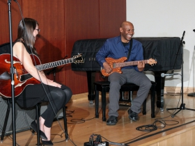 Jazz Master Class with Kevin Eubanks and accompanist Jocelyn Gould from Winnipeg, Canada at the Wilson Center Guitar Festival on Saturday, August 19, 2017