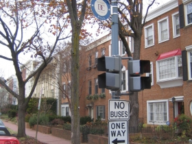 Take your tour bus elsewhere! No buses allowed on Ron Johnson's quiet side street in Washington. Photo by Michael Horne.