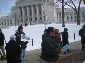 Protestors in front of the Capitol. Photo by Michael Horne.