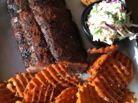 Baby back ribs with sweet potato fries