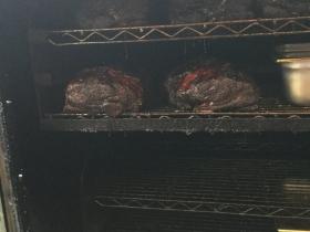 Pork butt in the smoker