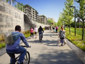 A rending of the plan for the future of the Atlanta BeltLine corridor at Pylant St
