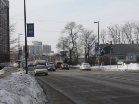 The end of National Avenue in Milwaukee with the VA Center in the background