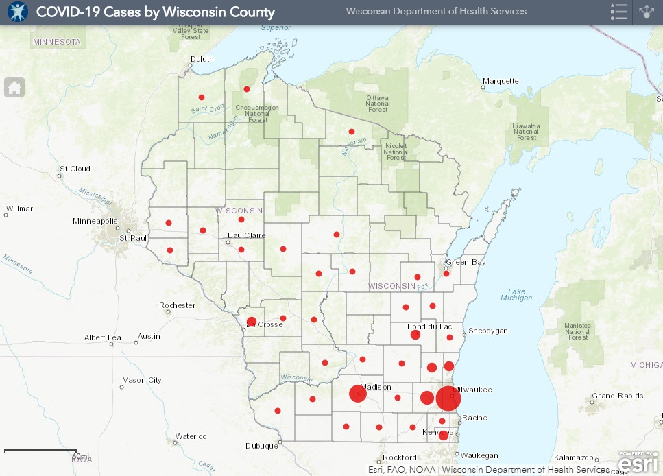 March 26th COVID-19 Wisconsin Case Map