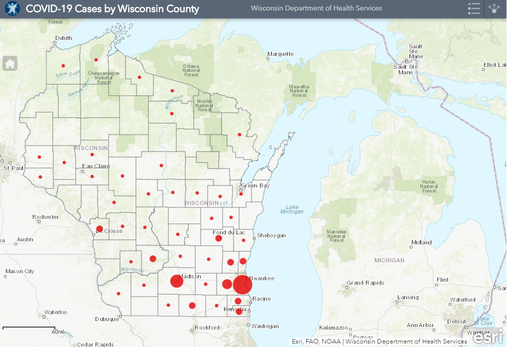 March 30th COVID-19 Wisconsin Case Map