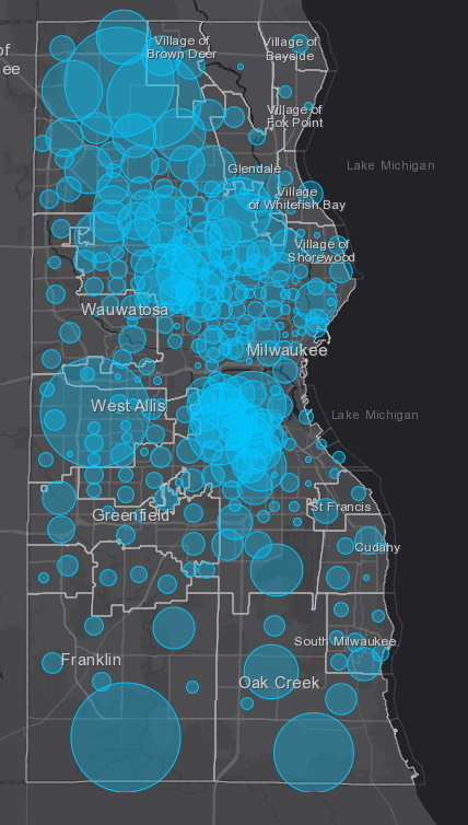 April 28 COVID-19 Milwaukee County Case Map