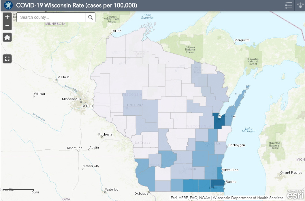 May 16 COVID-19 Wisconsin Cases Per 100,000 Residents Map