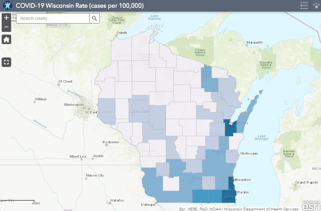 May 20 COVID-19 Wisconsin Cases Per 100,000 Residents Map