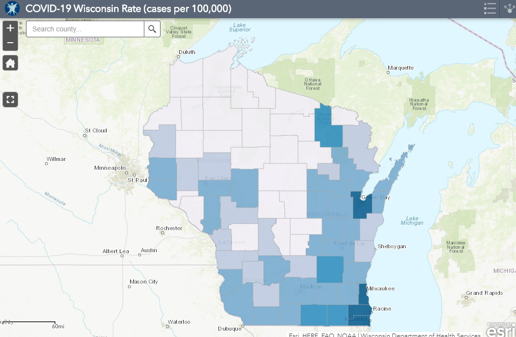 June 8 COVID-19 Wisconsin Cases Per 100,000 Residents Map