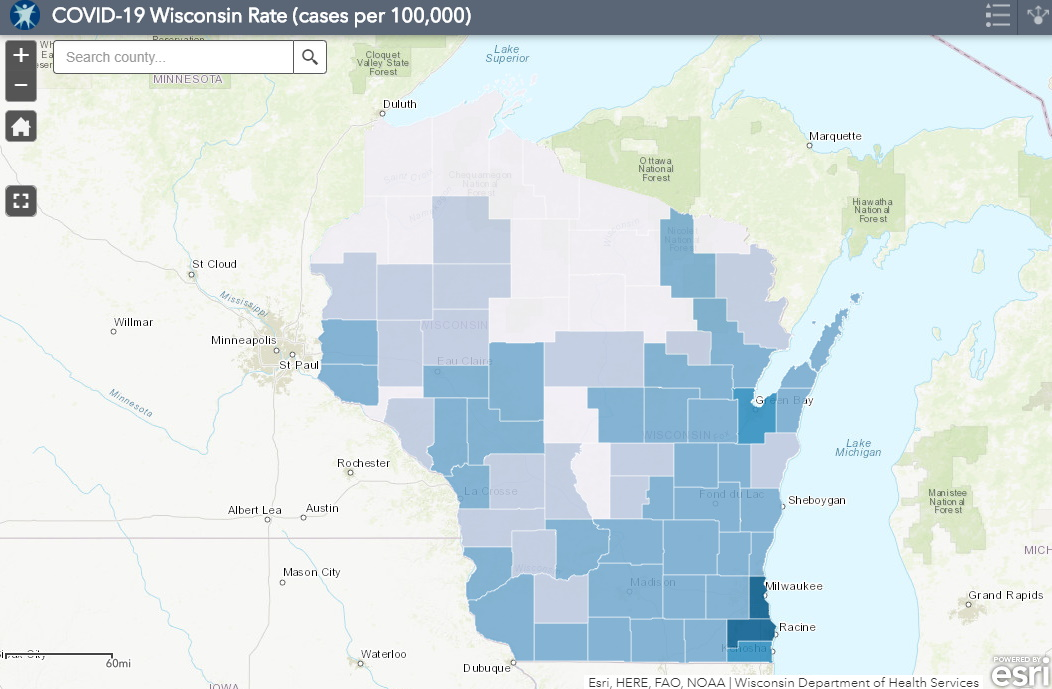 June 16 COVID-19 Wisconsin Cases Per 100,000 Residents Map
