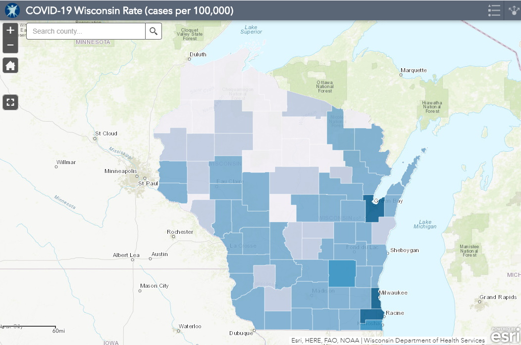 June 23 COVID-19 Wisconsin Cases Per 100,000 Residents Map