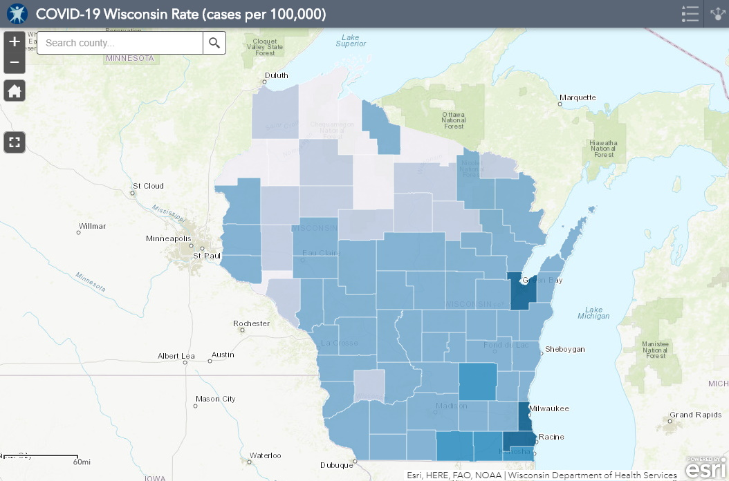 July 6 COVID-19 Wisconsin Cases Per 100,000 Residents Map