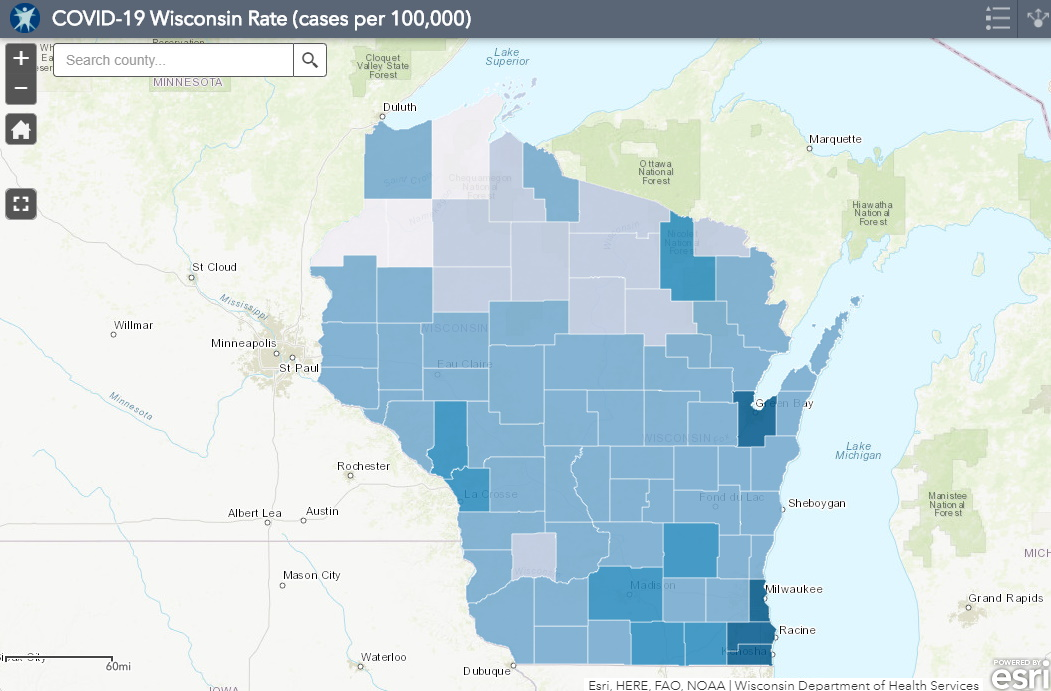 July 13 COVID-19 Wisconsin Cases Per 100,000 Residents Map
