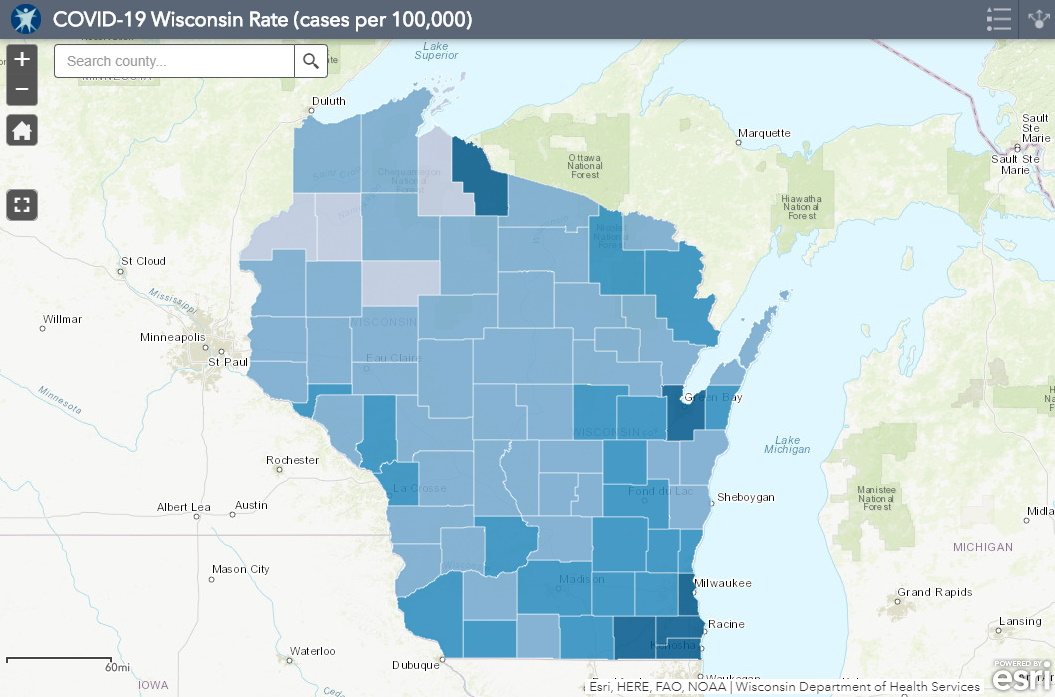 July 29 COVID-19 Wisconsin Cases Per 100,000 Residents Map
