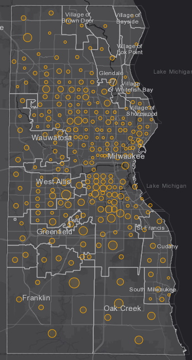 July 31 COVID-19 Milwaukee County - New Cases in Last 7 Days