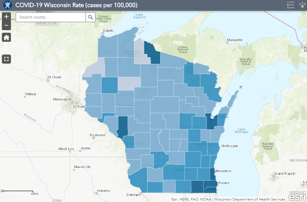 July 31 COVID-19 Wisconsin Cases Per 100,000 Residents Map