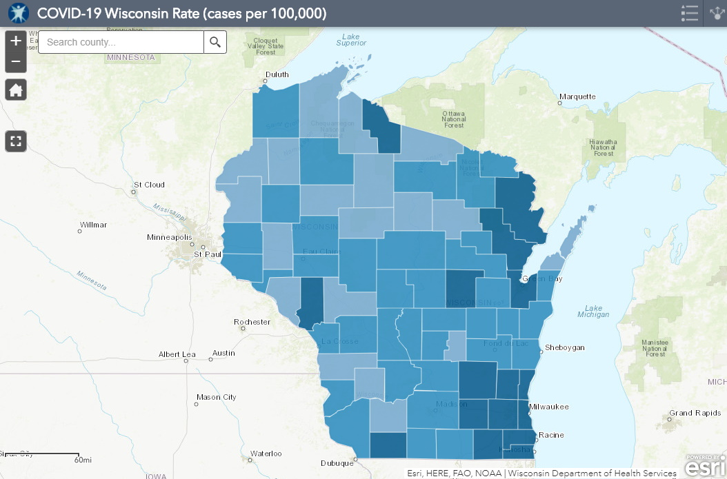 August 27th COVID-19 Wisconsin Cases Per 100,000 Residents Map