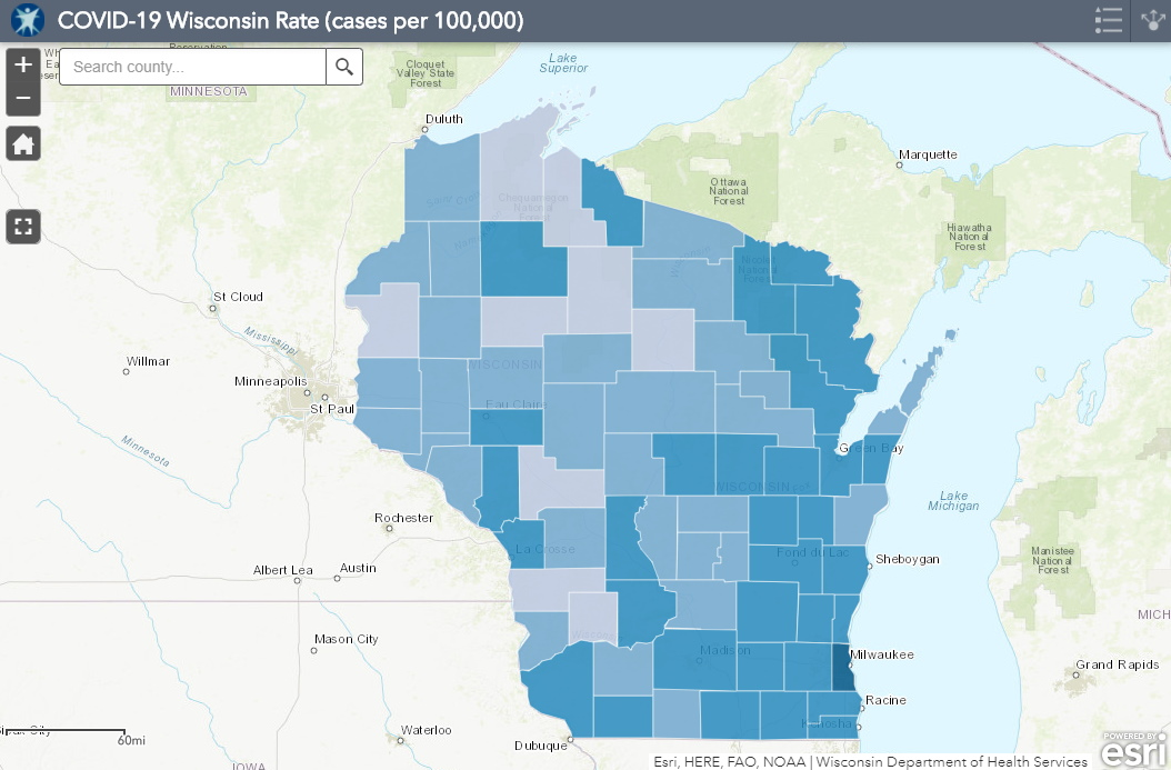 September 14th COVID-19 Wisconsin Cases Per 100,000 Residents Map
