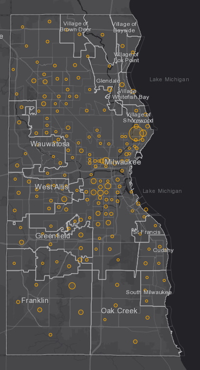 September 15th COVID-19 Milwaukee County - New Cases in Last 7 Days