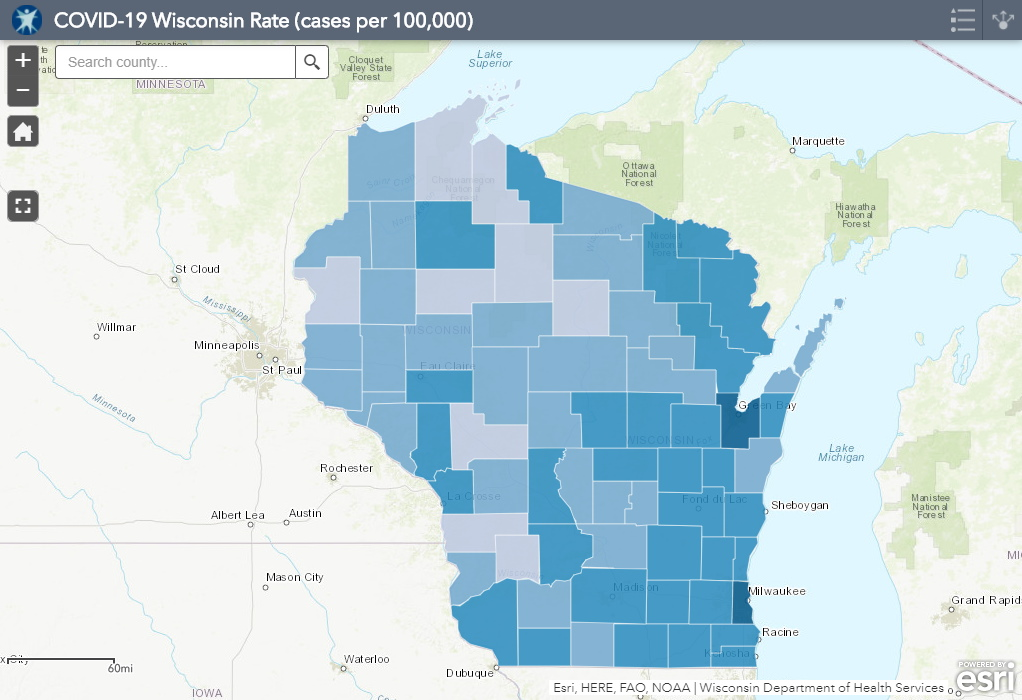 September 15th COVID-19 Wisconsin Cases Per 100,000 Residents Map