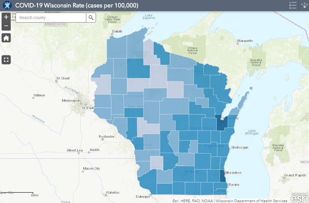 September 18th COVID-19 Wisconsin Cases Per 100,000 Residents Map