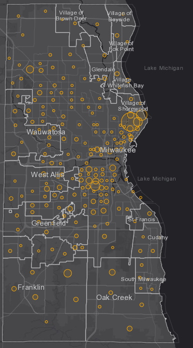 September 20th COVID-19 Milwaukee County - New Cases in Last 7 Days