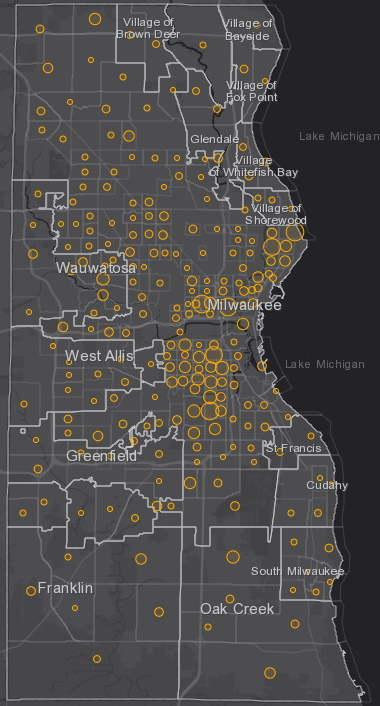September 25th COVID-19 Milwaukee County - New Cases in Last 7 Days