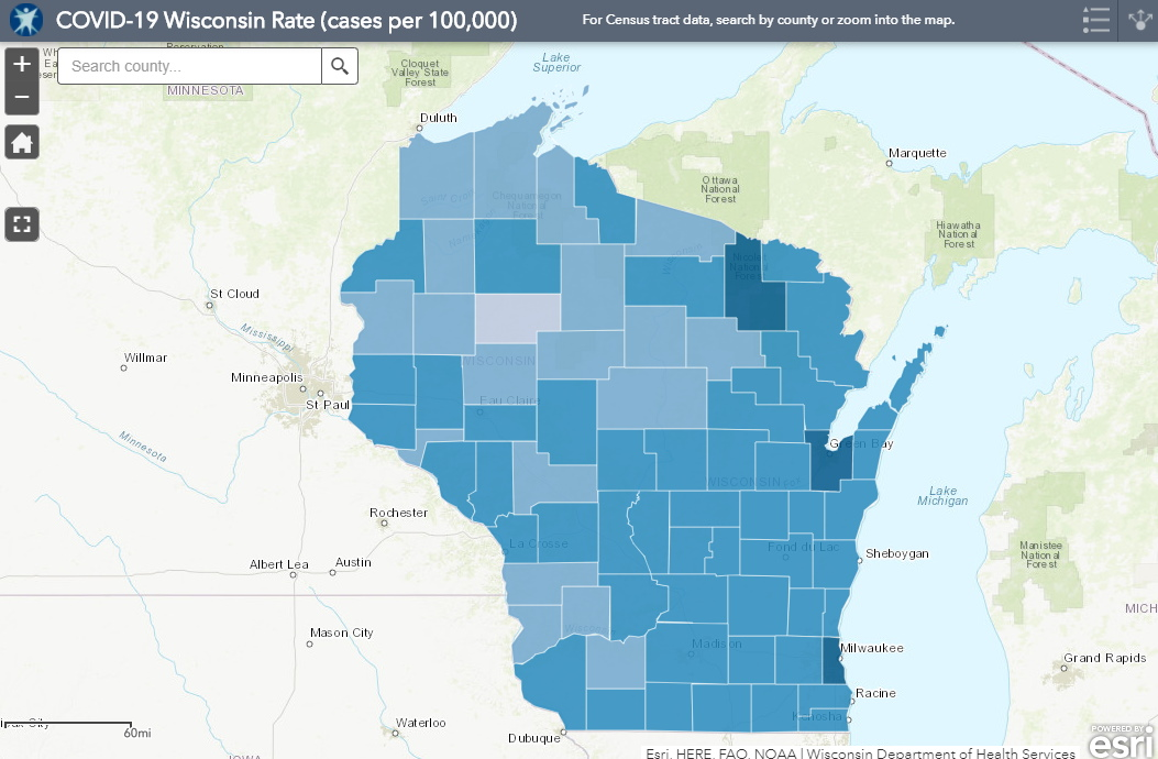 September 25th COVID-19 Wisconsin Cases Per 100,000 Residents Map